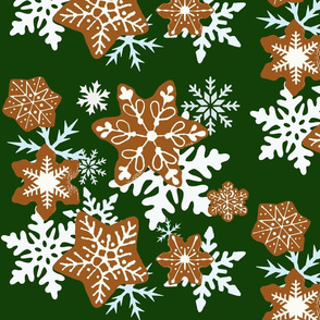 Gingerbread Snowflakes background green