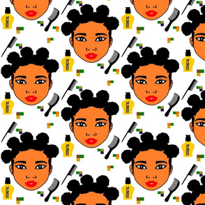 Afro girl with Bantu knots,haircombs and coconut oil.
