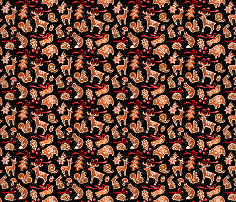 Woodland Gingerbread  Black Background  fabric by mirabelleprint on Spoonflower - custom fabric