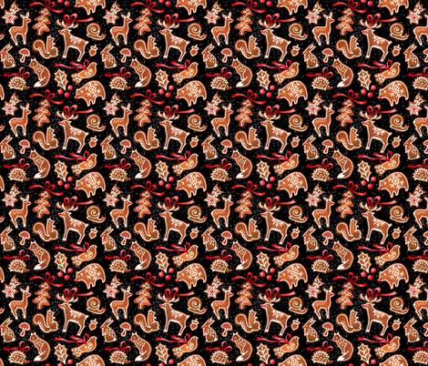woodland gingerbread - black fabric by mirabelleprint on Spoonflower - custom fabric