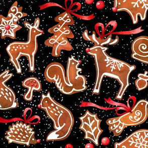 Woodland Gingerbread  Black Background