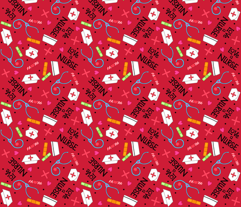 Love a Nurse Red fabric by phyllisdobbs on Spoonflower - custom fabric