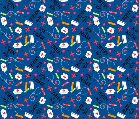 Love a Nurse Navy Blue fabric by phyllisdobbs on Spoonflower - custom fabric