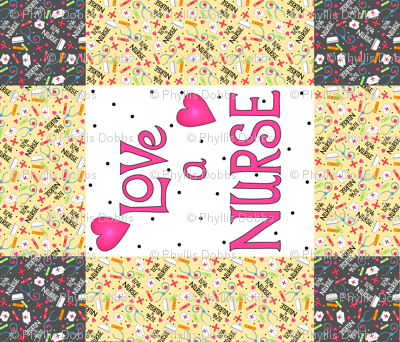Love a Nurse Wholecloth Quilt Top Yellow