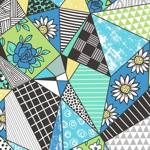 Geometric Patterned Patchwork with Stripes,Dots, Triangles & Flowers in Blue Green Larger Size