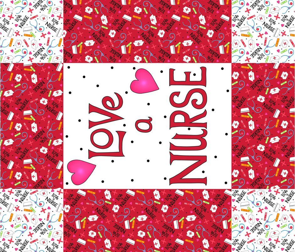 Love a Nurse Wholecloth Quilt Top Red fabric by phyllisdobbs on Spoonflower - custom fabric