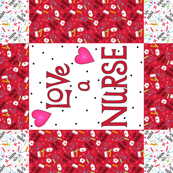 Love a Nurse Wholecloth Quilt Top Red