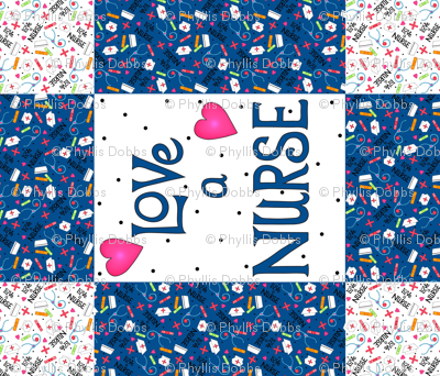 Love a Nurse Wholecloth Quilt Top Blue