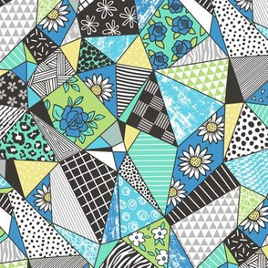 Geometric Patterned Patchwork with Stripes,Dots, Triangles & Flowers in Blue Green