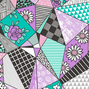 Geometric Patterned Patchwork with Stripes,Dots, Triangles & Flowers in Purple Mint Green Large Size