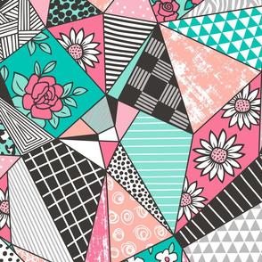 Geometric Patterned Patchwork with Stripes,Dots, Triangles & Flowers in Mint Green Peach Pink Large Size