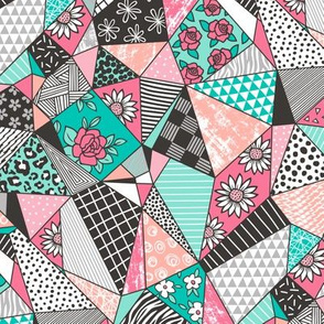 Geometric Patterned Patchwork with Stripes,Dots, Triangles & Flowers in Mint Green Peach Pink