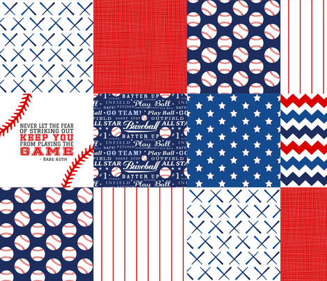 Baseball wholecloth Cheater Quilt fabric by longdogcustomdesigns on Spoonflower - custom fabric