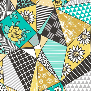 Geometric Patterned Patchwork with Stripes,Dots, Triangles & Flowers in Yellow Mint Green Large Size