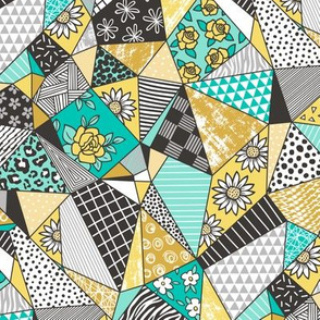 Geometric Patterned Patchwork with Stripes,Dots, Triangles & Flowers in Yellow Mint Green
