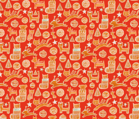 Holiday Cookie in Red - © Lucinda Wei fabric by lucindawei on Spoonflower - custom fabric