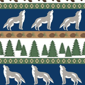 Howling Wolf Navy Blue White