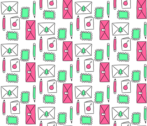 Christmas Snail Mail fabric by cozyreverie on Spoonflower - custom fabric