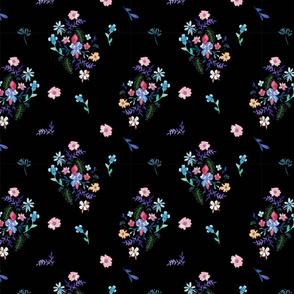 black floral bouquet