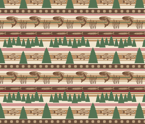 Fishing Cattails Trees Small fabric by phyllisdobbs on Spoonflower - custom fabric