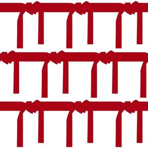 Six Inch Martial Arts Dark Red Belt on White