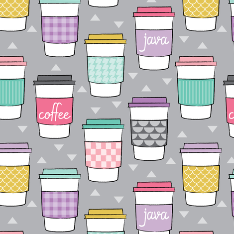 coffee cups-with-sleeves on grey fabric by lilcubby on Spoonflower - custom fabric