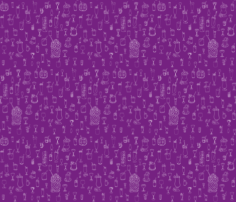 Cocktail Hour on Purple fabric by mysticcrab on Spoonflower - custom fabric