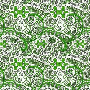 Green White Paisley