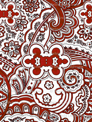 Red White Paisley