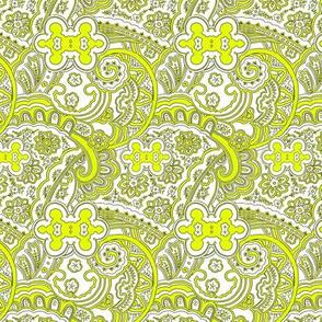 Yellow White Paisley