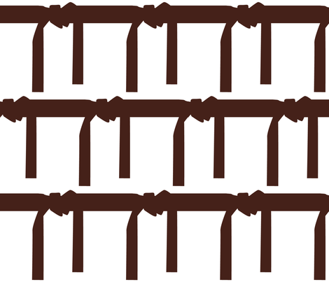 Six Inch Martial Arts Brown Belt on White fabric by mtothefifthpower on Spoonflower - custom fabric