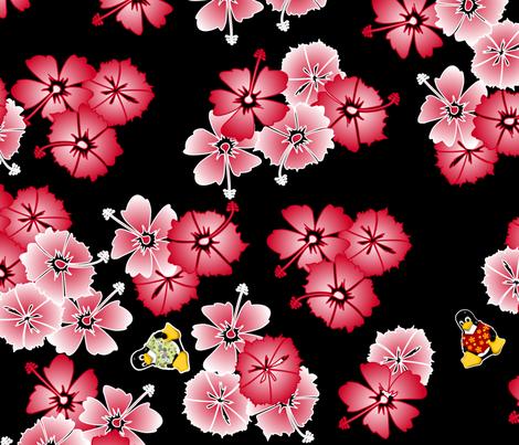 Black Hawaiian Multi2 Penguins Large fabric by casualtux on Spoonflower - custom fabric