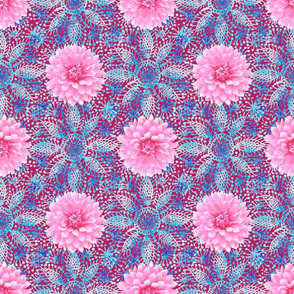 Rustic pink Dahlia on blue lace (magenta)