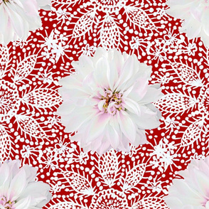 Rustic white Dahlia on white lace (red)