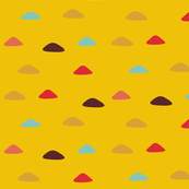 Yellow field of colored triangles