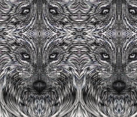 Mirrored Wolf fabric by madlyne_woodward on Spoonflower - custom fabric