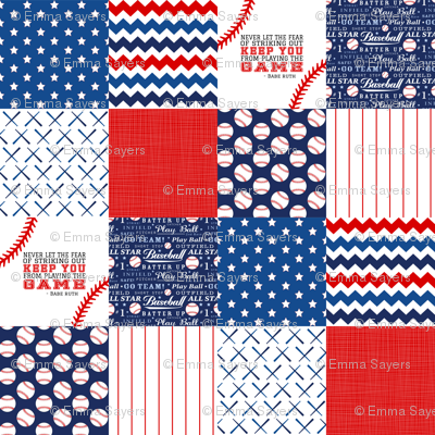 4.5 In Baseball Wholecloth Cheater quilt