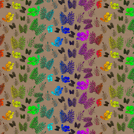Rainbow Foliage Scattered on Brown Paper fabric by eclectic_house on Spoonflower - custom fabric