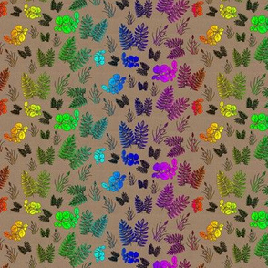 Rainbow Foliage Scattered on Brown Paper
