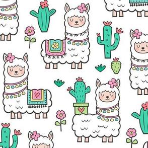 llamas  Alpaca Cactus & Flowers on White