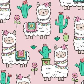 llamas  Alpaca Cactus & Flowers on Light Pink
