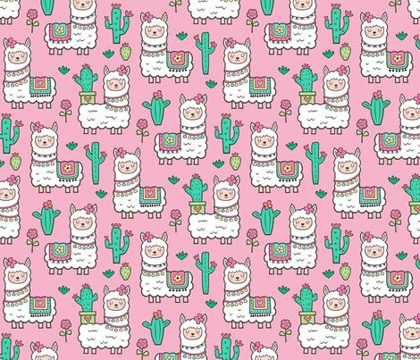 llamas  Alpaca Cactus & Flowers on Pink fabric by caja_design on Spoonflower - custom fabric
