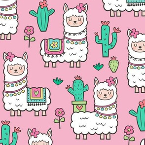 llamas  Alpaca Cactus & Flowers on Pink