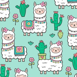 llamas  Alpaca Cactus & Flowers on Mint Green