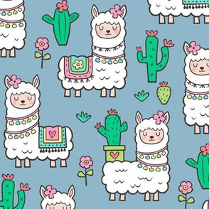 llamas  Alpaca Cactus & Flowers on Blue