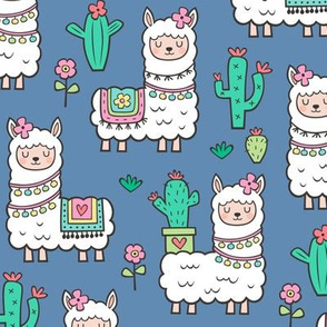 llamas  Alpaca Cactus & Flowers on Dark Blue Navy