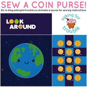 Kawaii Planet Earth Coin Purse - Cut & Sew Pattern