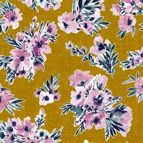 Purple watercolor flowers on custard yellow canvas texture