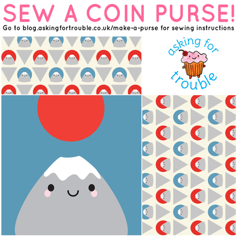 Kawaii Mt Fuji Coin Purse - Cut & Sew Pattern fabric by marcelinesmith on Spoonflower - custom fabric