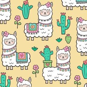 Llamas  Alpaca Cactus & Flowers on Yellow